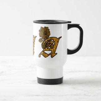 Monogrammed Initial A Gold Peony Travel Mug