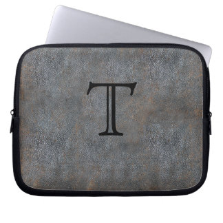 Monogrammed Initial Antique Distressed Leather Laptop Sleeve