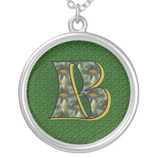 Monogrammed Initial B Daisies Design Necklace