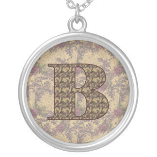 Monogrammed Initial B Elegant Floral Necklace