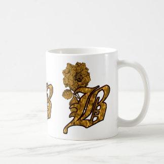 Monogrammed Initial B Gold Peony Mug