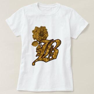 Monogrammed Initial B Gold Peony T Shirt