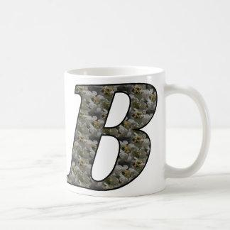 Monogrammed Initial B Hydrangea Floral Mug