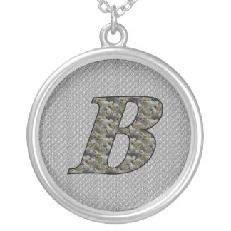 Monogrammed Initial B Hydrangea Floral Necklace