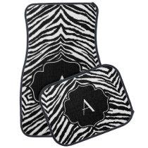 Monogrammed Initial Black and White Zebra Print Car Floor Mat