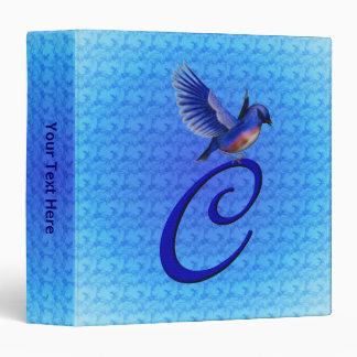 Monogrammed Initial C Elegant Bluebird Binder