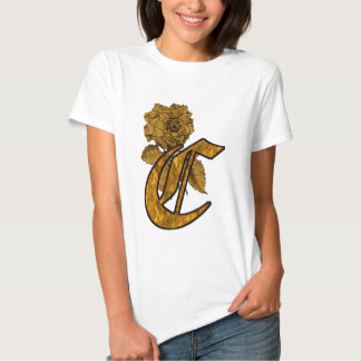 Monogrammed Initial C Gold Peony T Shirt
