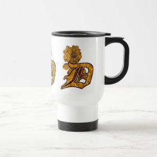 Monogrammed Initial D Gold Peony Travel Mug