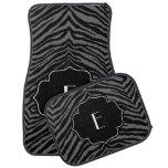 Monogrammed Initial Dark Gray Black Zebra Print Floor Mat