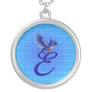 Monogrammed Initial E Bluebird Design Necklace