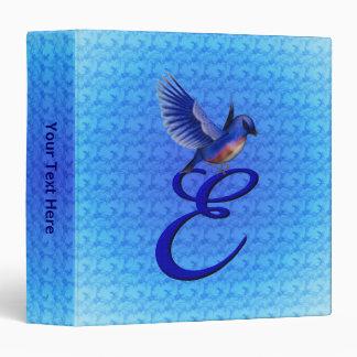 Monogrammed Initial E Elegant Bluebird Binder