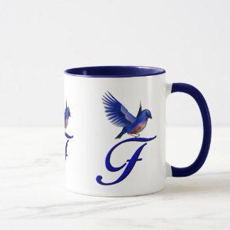 Monogrammed Initial F Elegant Bluebird Mug