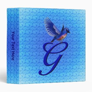 Monogrammed Initial G Elegant Bluebird Binder