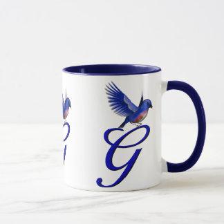 Monogrammed Initial G Elegant Bluebird Mug