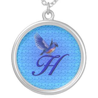 Monogrammed Initial H Bluebird Design Necklace