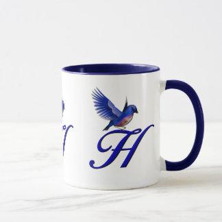 Monogrammed Initial H Elegant Bluebird Mug