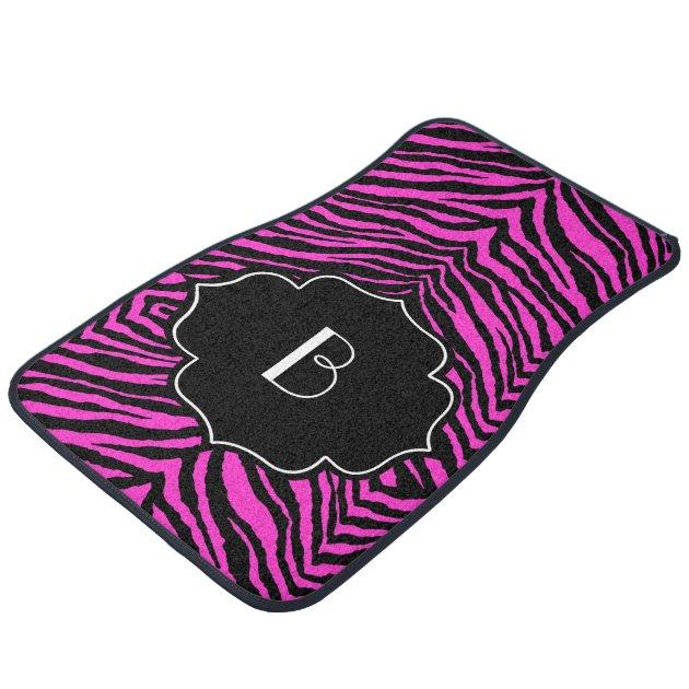 Monogrammed Initial Hot Pink Black Zebra Print Car Floor