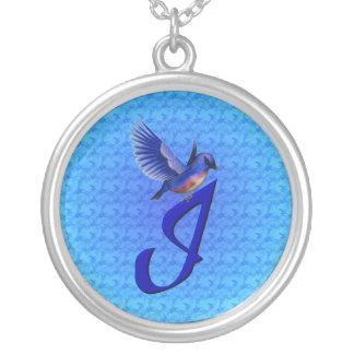 Monogrammed Initial I Bluebird Design Necklace