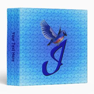 Monogrammed Initial I Elegant Bluebird Binder