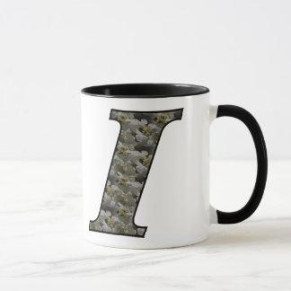Monogrammed Initial I Hydrangea Floral Mug