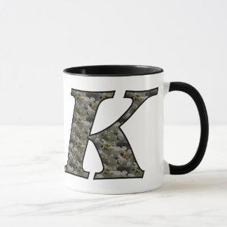 Monogrammed Initial K Hydrangea Floral Mug