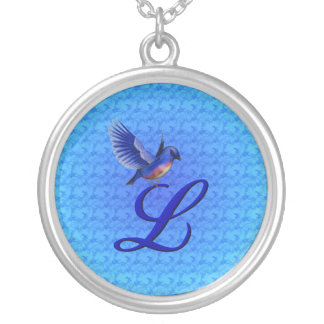 Monogrammed Initial L Bluebird Design Necklace