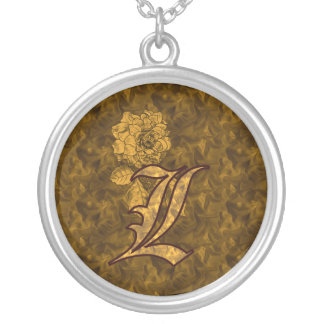 Monogrammed Initial L Gold Peony Necklace