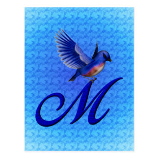 Monogrammed Initial M Elegant Bluebird Postcard