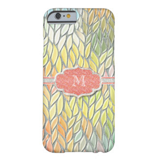 Monogrammed Initial Mosiac Glass look w Glitter Barely There iPhone 6 Case