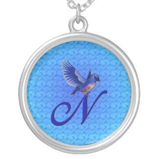 Monogrammed Initial N Bluebird Design Necklace