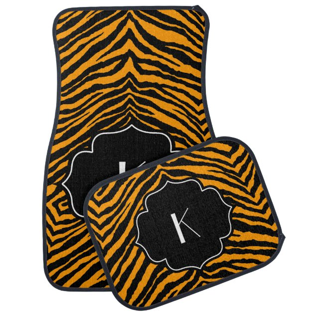Monogrammed Initial Orange Black Tiger Stripe Car Mat Zazzle