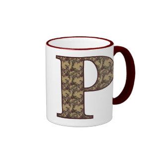 Monogrammed Initial P Elegant Floral Mug
