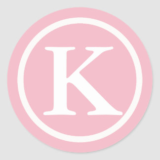 Monogrammed Initial Pink and White Letter Sticker