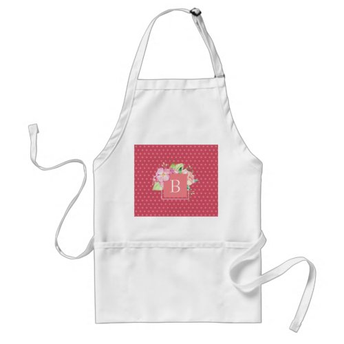 Monogrammed Initial Pink Dots  Pink Coral Floral Adult Apron