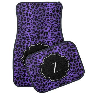 Monogrammed Initial Purple Leopard Animal Print Car Floor Mat