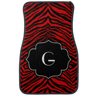 Monogrammed Initial Red Black Zebra Print Floor Mat