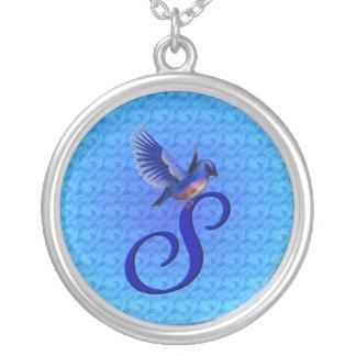 Monogrammed Initial S Bluebird Design Necklace