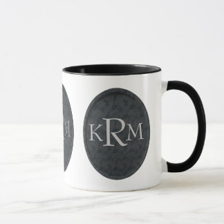 Monogrammed Initials Black Floral Mug