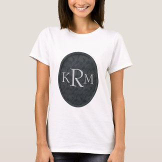Monogrammed Initials Black Floral T Shirt