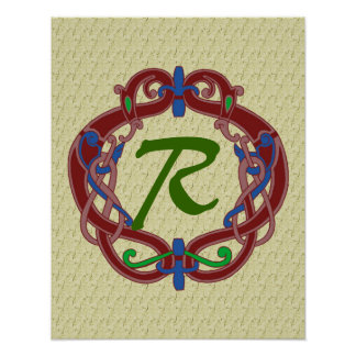 Monogrammed Initials Celtic Design Poster