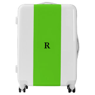 Monogrammed Initials Name Neon Green Trendy Cool Luggage