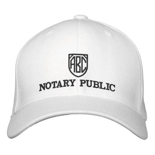 Monogrammed Initials Notary Public Customized Embroidered Baseball Cap