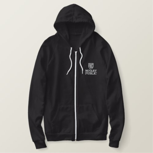 Monogrammed Initials Notary Public Customized Embroidered Hoodie