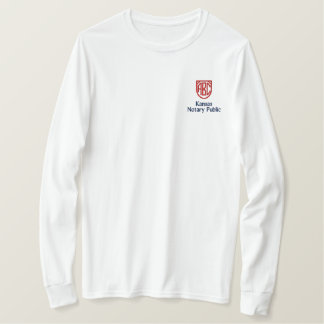 Monogrammed Initials Notary Public Kansas Embroidered Long Sleeve T-Shirt