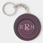 Monogrammed Initials Plum Swirls Keychain
