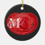 Monogrammed Initials Rose Floral Ornament