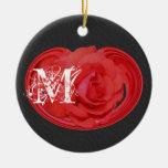 Monogrammed Initials Rose Floral Ornament