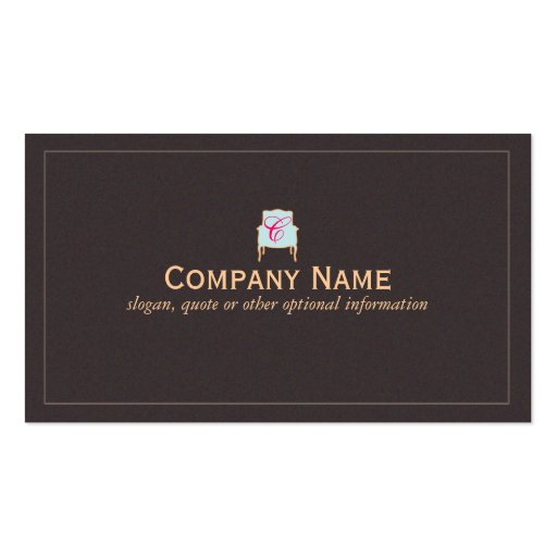 Monogrammed Interior Designer Business Card