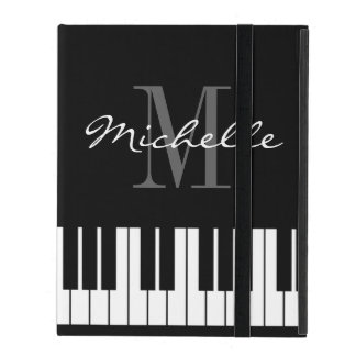 Monogrammed iPad 2 3 4 case with piano keys