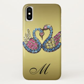 Monogrammed Jewelled Swans iPhone X Case